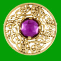 Celtic Open Knotwork Antiqued Purple Glass Stone Round Gold Plated Brooch