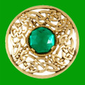 Celtic Open Knotwork Antiqued Green Glass Stone Round Gold Plated Brooch