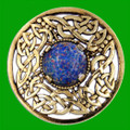 Celtic Open Knotwork Antiqued Opal Glass Stone Round Gold Plated Brooch