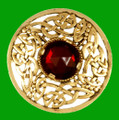 Celtic Open Knotwork Antiqued Red Glass Stone Round Gold Plated Brooch