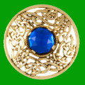 Celtic Open Knotwork Antiqued Blue Glass Stone Round Gold Plated Brooch