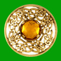 Celtic Open Knotwork Antiqued Orange Glass Stone Round Gold Plated Brooch