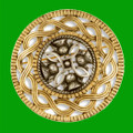 Thistle Antiqued Design Round Gold Plated Brooch