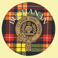 Buchanan Clan Crest Tartan Cork Round Clan Badge Coasters Set of 2