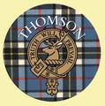 Thomson Clan Crest Tartan Cork Round Clan Badge Coasters Set of 4