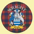Wright Coat of Arms Tartan Cork Round Scottish Name Coasters Set of 2