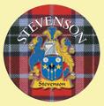 Stevenson Coat of Arms Tartan Cork Round Scottish Name Coasters Set of 2