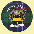 Mitchell Coat of Arms Tartan Cork Round Scottish Name Coasters Set of 2