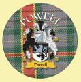 Powell Coat of Arms Tartan Cork Round Scottish Name Coasters Set of 4