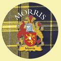 Morris Coat of Arms Tartan Cork Round Scottish Name Coasters Set of 4