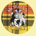 Morgan Coat of Arms Tartan Cork Round Scottish Name Coasters Set of 4