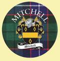 Mitchell Coat of Arms Tartan Cork Round Scottish Name Coasters Set of 4