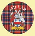 Millar Coat of Arms Tartan Cork Round Scottish Name Coasters Set of 4