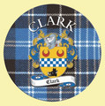 Clark Coat of Arms Tartan Cork Round Scottish Name Coasters Set of 4