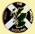 Ive Been Around Scotland Map Saltire Round Enamel Badge Lapel Pin Set x 3