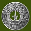 Bain Clan Crest Thistle Round Stylish Pewter Clan Badge Plaid Brooch