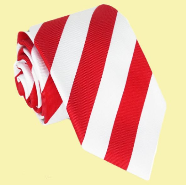 White Cherry Red Diagonal Stripes Formal Wedding Straight Mens Neck Tie
