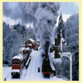 Snow Steam Trees Train Themed Mega Wooden Jigsaw Puzzle 500 Pieces