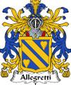 Allegretti Italian Coat of Arms Large Print Allegretti Italian Family Crest