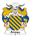 Anaya Spanish Coat of Arms Large Print Anaya Spanish Family Crest