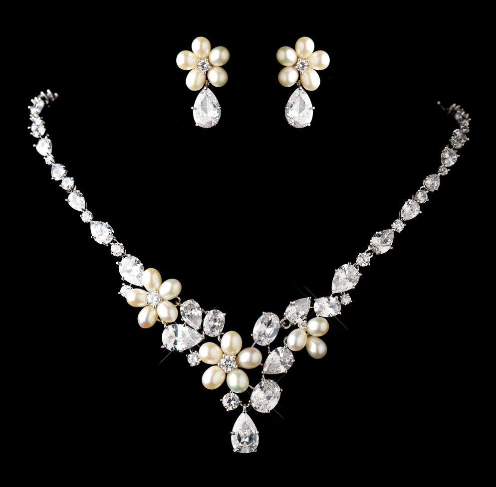 78ef2375b Ivory Freshwater Pearl Cubic Zirconia Wedding Necklace Earrings Bridal Set.  Price: $320.00. Image 1