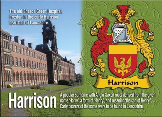 Harrison Coat of Arms English Family Name Fridge Magnets Set of 2