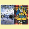 Watt Coat of Arms Scottish Family Name Fridge Magnets Set of 2