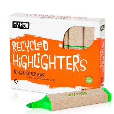 Box of 12 Green Recycled Highlighters