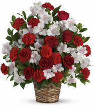 Beloved One Funeral Basket by Sympathy Flower Shop. Reach out to the family at home with this lovely array of classic blooms artistically arranged in a beautifully woven basket. SKU SYM431
