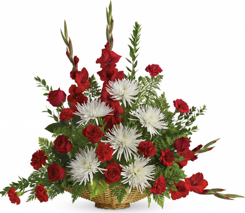 Truly Graceful Funeral Basket by Sympathy Flower Shop. Everyone mourning the loss of a loved one will be comforted by this lovely array of red roses, red gladioli and white mums. SKU SYM432
