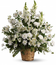 Heavenly White Funeral Basket