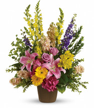 Graceful Love Funeral Bouquet by Sympathy Flower Shop. Celebrate the spirit of a loved one who is no longer with us with a gorgeous array of roses, lilies and other favorites. The magnificent bouquet includes pink hydrangea, lavender roses, pink oriental lilies, yellow gerberas, yellow alstroemeria, yellow snapdragons, purple larkspur and peach stock. SKU SYM437