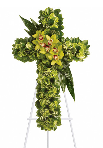 """Heavenly Comfort Green Orchid Funeral Flower Cross from Sympathy Flower Shop. This funeral spray includes green hydrangeas along with a dazzling mix of exotic green orchids and other flowers and leaves to create a beautiful and textured cross, delivered on an easel. Approximately 22"""" W x 34"""" H   SKU SYM304"""
