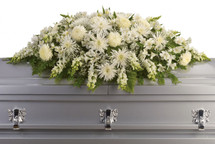 Enduring Love All White Casket Cover Spray from Sympathy Flower Shop. This elegant casket arrangement includes white alstroemeria, white snapdragons, white mums, white spider chrysanthemums and baby's breath, accented with assorted greenery.  SKU SYM819