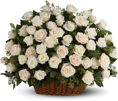 White Rose Funeral Basket by Sympathy Flower Shop. White roses with fragrant seeded eucalyptus beautifully presented in a large basket. Your best Houston funeral florist. SKU SYM418