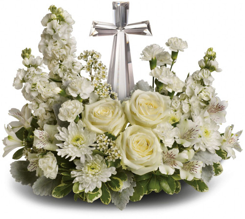 Crystal Cross Sympathy Arrangement by Sympathy Flower Shop. A fragrant mix of pure white blooms - including roses, alstroemeria, stock, carnations and waxflower. Includes an exclusive Crystal Cross keepsake for the family. Your #1 Houston funeral florist. SKU SYM416