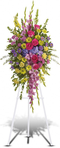 Beautifully Bright Standing Spray by Sympathy Flower Shop. This lovely assortment of flowers includes lavender gladioli and cushion spray chrysanthemums, yellow snapdragons, carnations and daisy spray chrysanthemums, hot pink roses, purple hydrangea, asters and assorted greens are all presented on a funeral easel. Free funeral flower delivery in Pearland TX. SKU SYM606