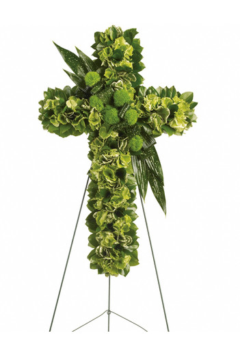 "Green Garden Funeral Flower Cross from Sympathy Flower Shop. This exquisite arrangement includes green hydrangeas, green trick dianthus, variegated pittospourum, accented with Israeli ruscus and other assorted greenery. Approximately 22"" W x 34"" H  SKU SYM303"