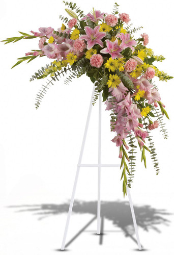 Pink Solace Standing Spray from Sympathy Flower Shop. This crescent includes stems of flowers such as pink stargazer lilies, gladioli and carnations with yellow snapdragons, and daisy spray mums, accented by variegated greens and eucalyptus. Bellaire funeral flower delivery. SKU SYM616