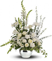White Reflections Sympathy Bouquet by Sympathy Flower Shop. An elegant expression of caring, this beautiful bouquet of white roses and other favorites in a silver vase will be a lovely addition to the memorial service. SKY SYM434