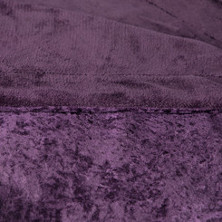 Adorn & Décor Crushed Velvet Reversible to Shiny Flannel Throw - Plum AD-CRUVEL-PL
