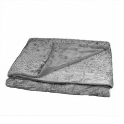Adorn & Décor Crushed Velvet Reversible to Shiny Flannel Throw - Grey AD-CRUVEL-GR