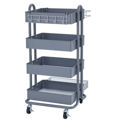 ECR4KIDS 4-TIER UTILITY ROLLING CART GRAY 20702GY