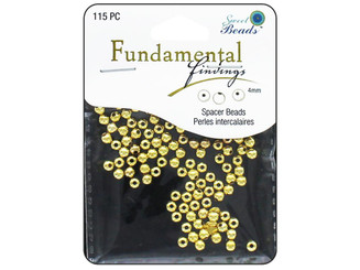 0352 SWEET BEADS FUND FIND BEAD 4MM ROUND 115PC GOLD