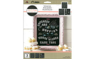 13250 PLAID FOLKART STENCIL 8 5X9 5 L V CUPCAKE 3PC