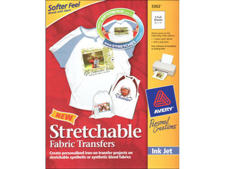 3302 AVERY PRINTABLE STRETCHABLE TRANSFER SHEETS 5PC