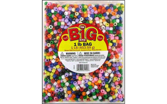 0726-34 DARICE PONY BEAD 9MM OPAQUE MULTI 1LB