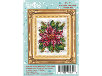 DESIGN WORKS CRAFTS 530 DESIGN WORKS CROSS STITCH KIT 2X3 POINSETTIA
