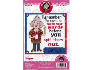 014-0107 JANLYNN CROSS STITCH KIT AUNTY ACID TASTE WORDS