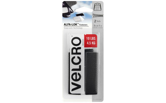 VEL-30642-USA VELCRO ALFA-LOK FASTENER 3X1 STRIP BLACK 2 SETS
